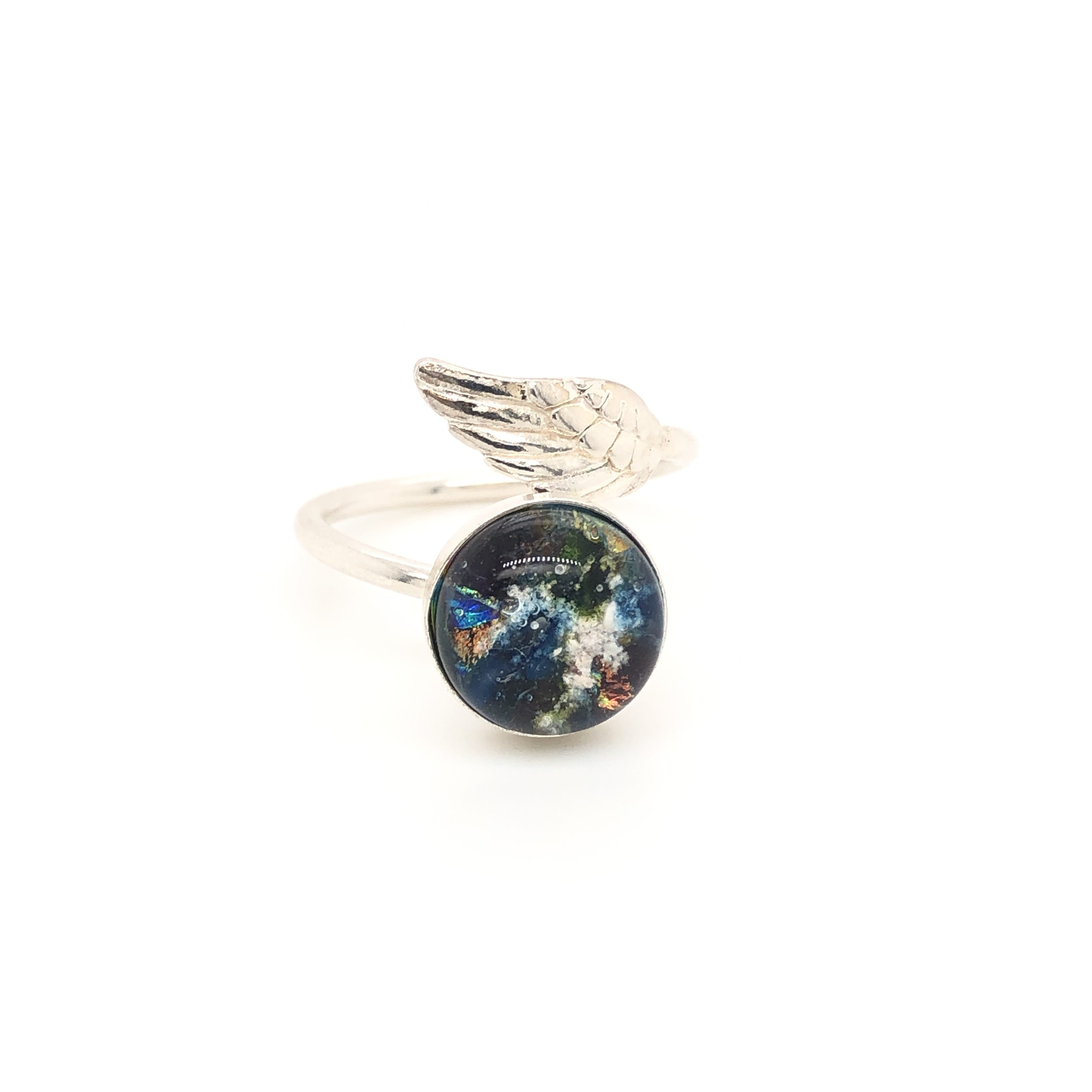Angel Wing Band- Glass Cremation Jewelry - AnnNicoleCo